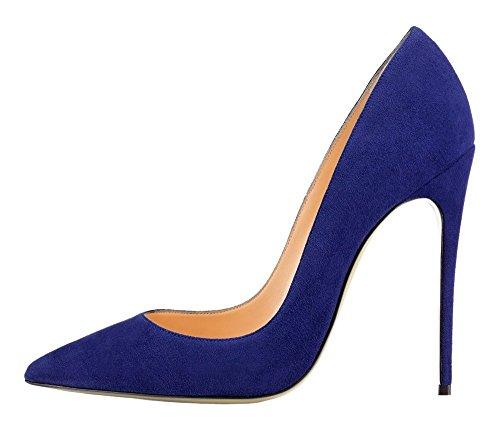 Taille Talons Chaussures Stilettos Escarpins Grande Femmes suede Bleu Aiguille Talon uBeauty Femme Chaussures xqf0wB4Bv