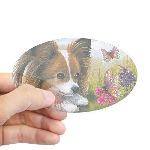 CafePress Dog 123 Papillon Butterfly Sticker Oval Bumper Sticker, Euro Oval Car Decal