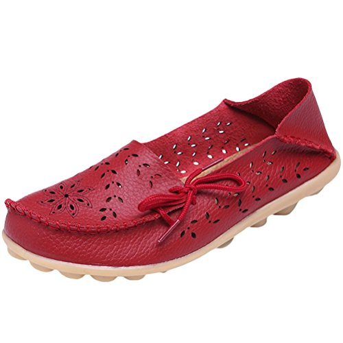 Cuir Femme Flach Style Pumpe MatchLife Rouge Rétro Casual Chaussures 2 E1qxqa