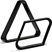 Skylety 2 Pieces Wooden Billiard Ball Rack Solid Wood 2-1/4 inches Billiard 8-Ball Triangle Rack and 9-Ball Di