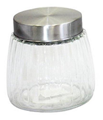 Gourmet Home Products Round Ribbed Glass Storage Container Jar With Brushed Metal Lid, 35 oz, Clear