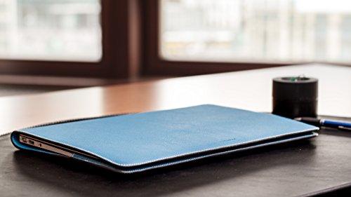 ZENDO MacBook 12'' Leather Cover (Full-Grain Shrunken Calf Leather) | PRIMO Luxury Full-Grain Leather [SIZE: MacBook 12'' | AQUABLUE] by Zendo (Image #7)