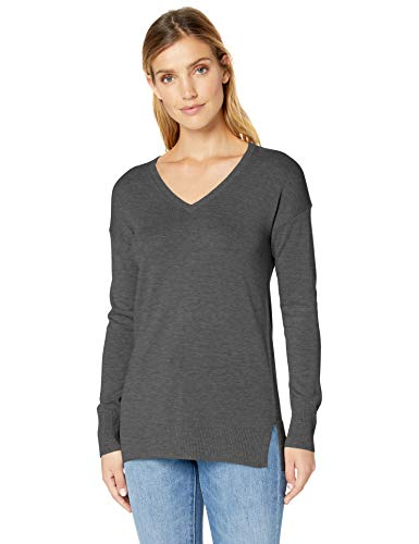 Amazon Essentials Women's Lightweight V-Neck Tunic Sweater, Charcoal Heather, Large
