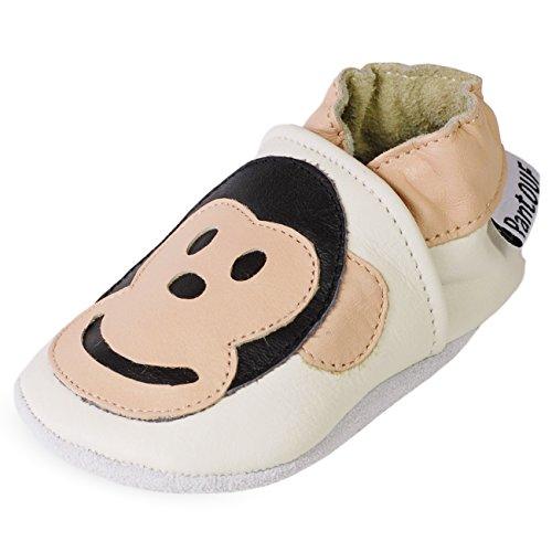 Zapatillas de Niño Niña - Patucos de cuero con elástico para Bebé - Zapatillas Primeros Pasos - Zapatillas infantiles -pescado beige con un mono
