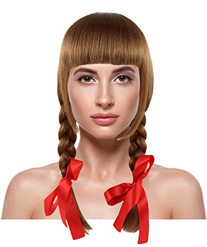 Halloween Party Online Possessed Doll Wig, Brown Adult HW-1094