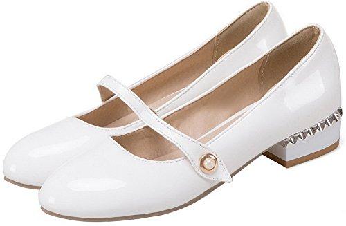 La Traction Solides Blanches Sur Cuir Chaussures En Bout Pompes Des Odomolor Rond Bas Femmes Verni talons 4S4xrdTw