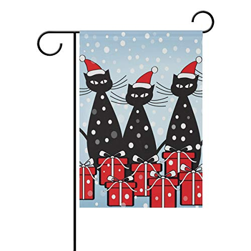 WIHVE Christmas Cat Garden Flag 28 X 40 Inch Double Sided, W