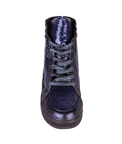 Sequin Navy Creeper Top Platform Womens High Sneakers Up Fashion KRISP 5484 Lace Metallic qwt8x0P0R