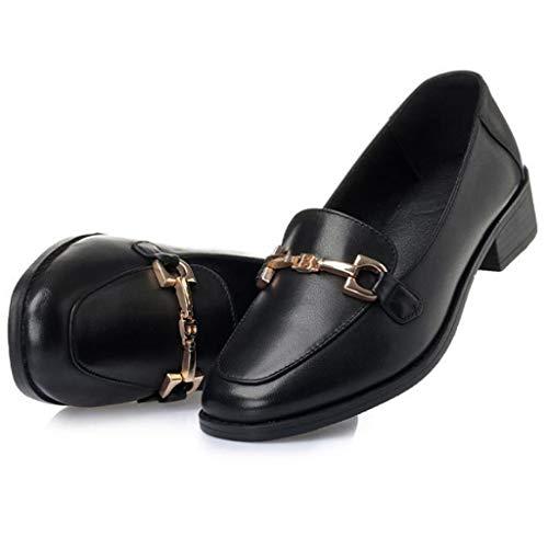 Mocasines Cuero Guisantes Casuales Zapatos Trabajo De Black Retro Perezosos HYn0Cwq
