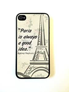 iPhone 4 Case Silicone Case Protective iPhone 4/4s Case AUdrey Hepburn Quote Paris by runtopwell