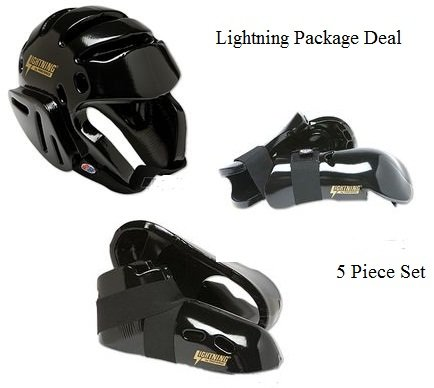 Lightning BLACK Karate Sparring Gear Package Deal - Child Small