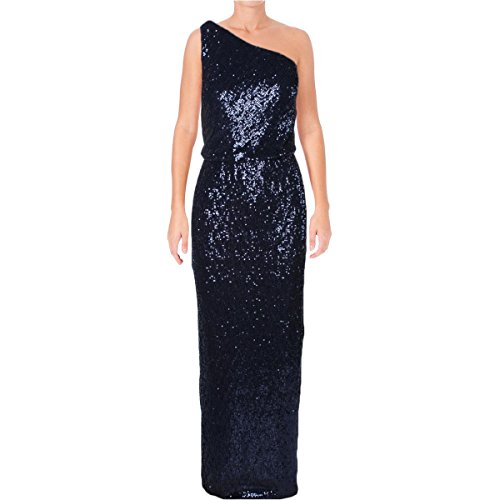 Ralph Lauren Womens Milolina Sequined One-Shoulder Formal Dress Navy 10
