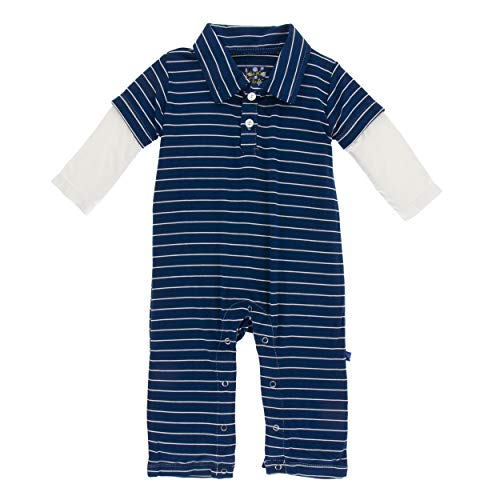(Kickee Pants Little Boys Print Long Sleeve Double Layer Polo Romper - Tokyo Navy Stripe, 12-18 Months)