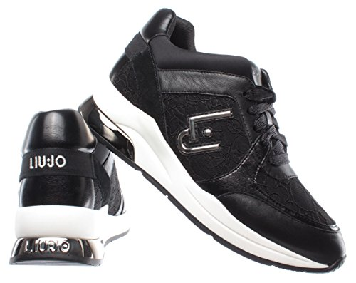 New Jo Up Scarpe Karlie Donna Liu 05 Sneakers Black Nuove Lace Nere Nero Lycra 76qB6TwZx