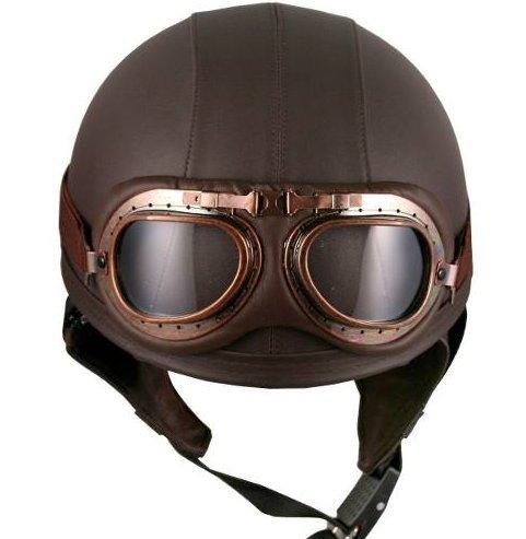 Casco Vintage estilo aviador para motocicleta Unisex con goggles
