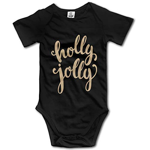 FRTSFLEE Merry Christmas Holly Jolly Baby Onesies Unisex Funny Short-Sleeve Toddler Clothes Cute Cotton Bodysuits Black