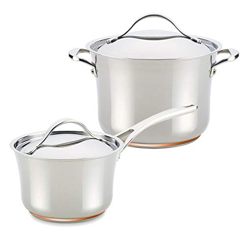 Anolon Nouvelle Copper Stainless Steel 3-1/2-Quart Saucepan with 6-1/2-Qt Stockpot Anolon Stainless Steel Stock Pot