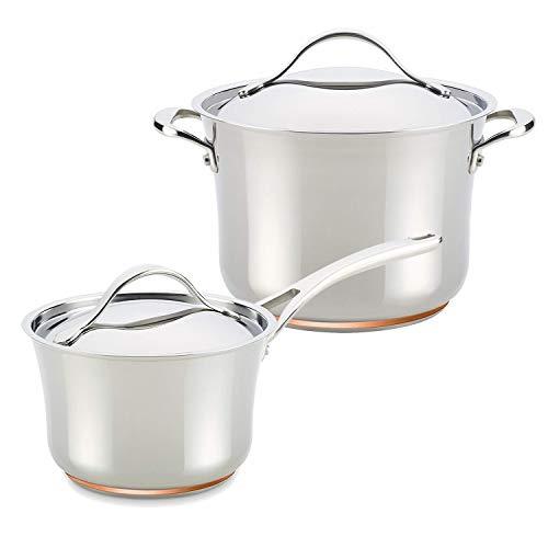 Anolon Nouvelle Copper Stainless Steel 3-1/2-Quart Saucepan with 6-1/2-Qt Stockpot ()