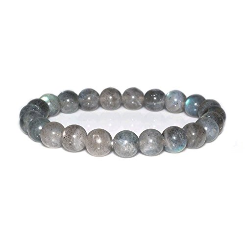 - Natural A Grade Labradorite Gemstone 8mm Round Beads Stretch Bracelet 7