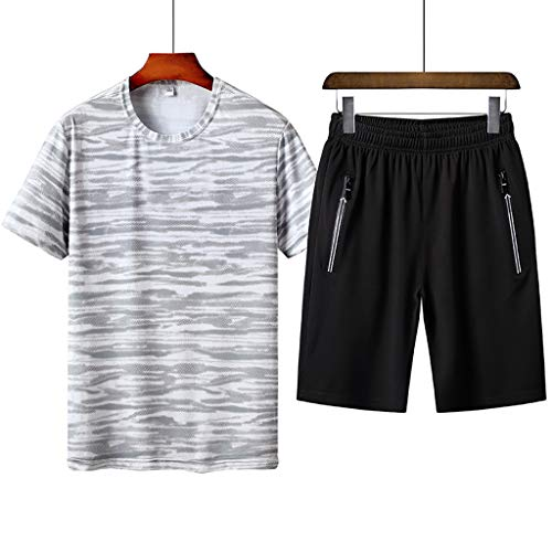 Men's Leisure Printing Sets - Plus Size Short Sleeve Shorts Sports Fashion Summer Sets,Sunsee 2019 Must Have by MEN SHOES BIG PROMOTION-SUNSEE (Image #1)