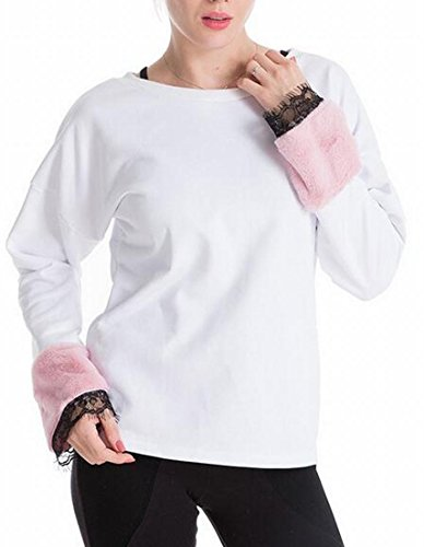 White Faux Stitching Neck Fur Sweatshirt Pullover Casual today UK Womens Sleeve Round pPRFBO