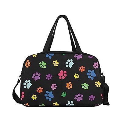 cc2bc5f81768 60%OFF InterestPrint Colorful Paw Duffel Bag Travel Tote Bag Handbag Luggage