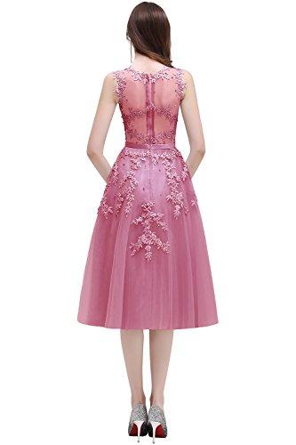 Damen Perlen Abendkleider Spitze Altrosa Midi Babyonlinedress® Tüll Xq5HXd