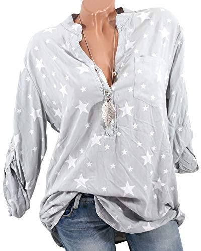 Plus Vert Pull Casual Size Longues Top Shirt Chemisier Blouse Tunique V Manches Femme Mode Col Xinwcang Button qUwxSaW