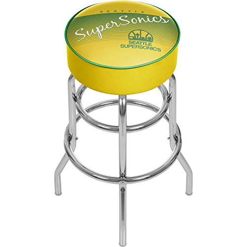 Trademark Global NBA Seattle SuperSonics Hardwood Classics Bar Stool, One Size, Chrome by Trademark Global