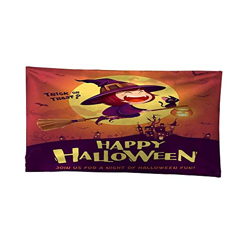 Leighhome Tapestry blankethanging tapestryHappy Halloween Halloween Flying Little Witch Girl Kid in Halloween Costume Flying Over The Moon Retro Vintage 1 80W x 60L Inch ()