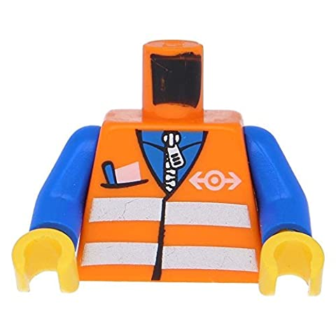 LEGO Minifigure Parts: Orange Torso Safety Vest with Reflective Stripes with Pocket and Train Logo Pattern, with Blue Arms and Yellow Hands x10 - Sand Mad Cat