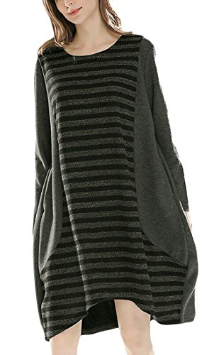 Neck Cromoncent Striped Sleeve Relaxed Round Dress Casual Big Womens Pendulum Gray Long tBaqwrt