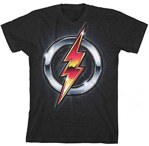 Justice League Big Boys' Flash Logo Tee, Charcoal L(14/16)