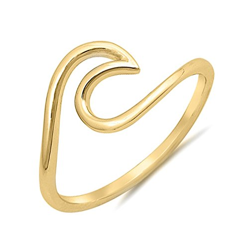 .925 Sterling Silver Wave Design Simple Plain Surfer Ocean Waves Nautical Ring Band Size 6 - Gold (Design Band Wave)