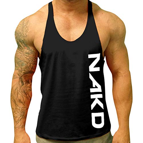 - refulgence Men's Fitness Gym Vest Sportswear Basic Muscular Stringer Tank Tops Black