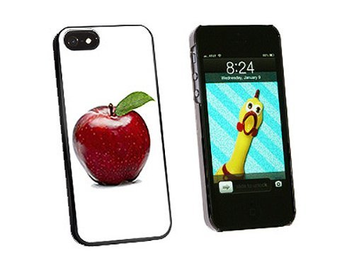Graphics and More Red Apple with Leaf Snap-On Hard Protective Case for iPhone 5/5s - Non-Retail Packaging - Black