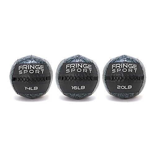 14/16/20lb Medicine Ball Set / 16in Diameter Weighted Wall Ball for Strength and Conditioning by Fringe Sport