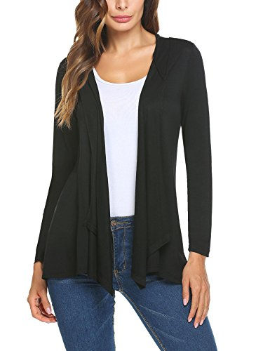 Mofavor Women's Long Sleeve Hooded Open Front Cardigans Black (Hooded Open Cardigan)