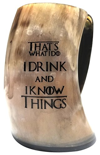 (Uniquely Handcrafted & Polished That's What I Do I Drink & I Know Things Viking Drinking Horn - Inspired by Game of Thrones - Perfect Ale/Beer Mug Gift)