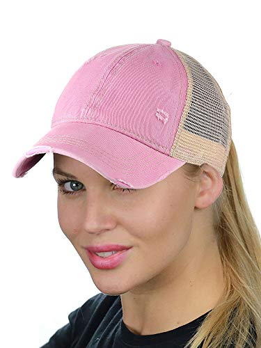 C.C Ponycap Messy High Bun Ponytail Adjustable Mesh Trucker Baseball Cap Hat, Washed Pink