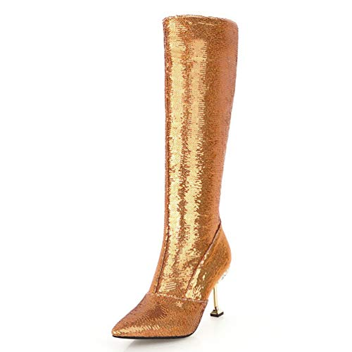 T-JULY Sequin Thin High Heels Shoes Woman Boots Zip Up Party Boots Knee-High Boot Woman Shoes Gold