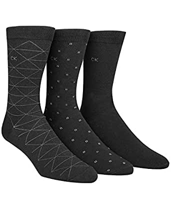 Calvin Klein Men's 3 Pack Fashion Geometric Socks, Black, Shoe Size 7-12