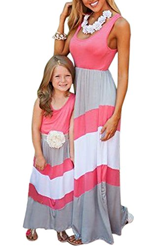WIWIQS Summer Cute Monther and Daughter Boho Striped Chevron Maxi Dresses(Rose and Gray,L)