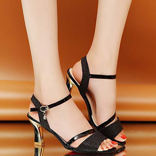 Alto Plataforma Sandalias Mujer de Vestir Zapatos Toe Vestir Casual Sandalias Playa Sandalias para tacón Baño Mujer Negro de Playa de Peep Mujer de Cuña Verano Plataforma para tacón Alto de qTwPEIa