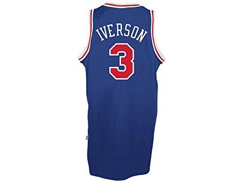 Adidas Men's Philadelphia 76ers NBA Allen Iverson Soul Swingman Jersey Blue Large