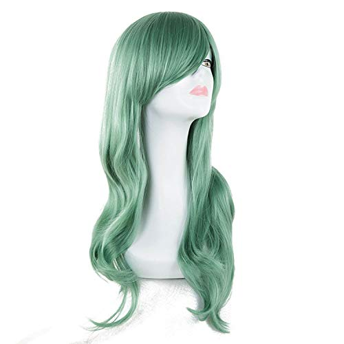 Synthetic Heat Resistant Fiber Long Silver Wavy Wigs Pelucas Cartoon Female Hairpieces Party Salon Women Hair,Green,24inches