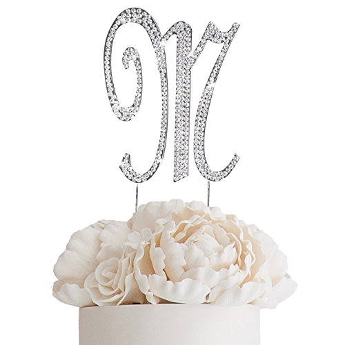 BalsaCircle 4.5-Inch Tall Silver Letter M Crystal Rhinestone Cake Topper - Personalized Monogram Wedding Birthday Party -