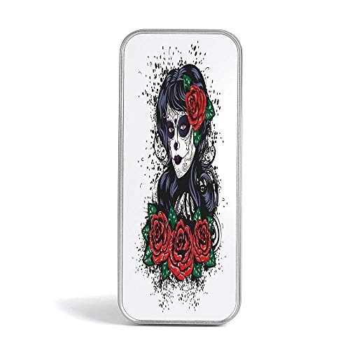 Tin Pencil Box,Skull,Pen Case Organizer for School Office Home,Dead Hair Elegant Sugar Skull Lady with Roses in Retro Ink Style