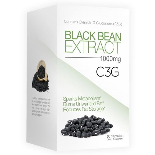 Best Selling Pure Black Bean Extract - Fat Burner - 1000 mg Servings - C3G Pure Black Bean Extract, 60 Capsules (Only 2 Capsules/day) - As Seen On TV - All Natural