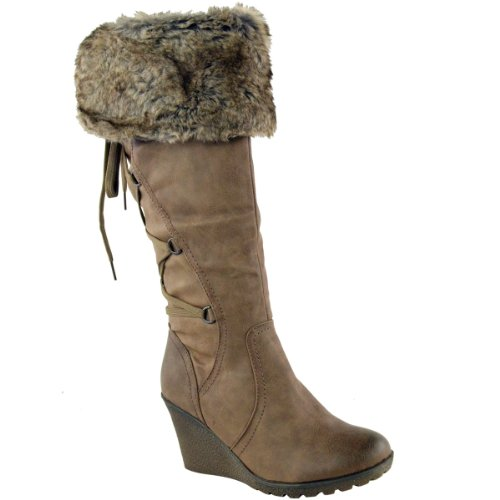 - Fashion Thirsty Womens Faux Fur Lined Mid Wedge High Heel Warm Winter Knee Calf High Boots Size 8